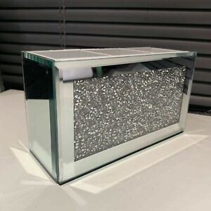 crushed jewel mirror diamante Beauty Box Makeup Brush Remote Organiser Holder