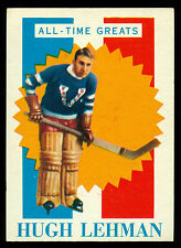 1960 61 TOPPS HOCKEY #38 HUGH LEHMAN EX-NM ALL TIME GREATS VANCOUVER