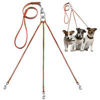 Genuine Leather Triple Coupler Dog Lead for 3 Small Medium Dogs Walking Hiking