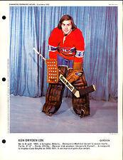 1972 KEN DRYDEN MONTREAL CANADIENS French Magazine DIMANCHE DERNIERE 8X11 PHOTO