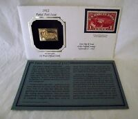 22Kt Gold First Day Stamp Replica 1912 US Parcel Post Issue 1 cent Clerk History