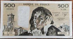 Billet 500 francs PASCAL 5 - 1 - 1984 FRANCE G.196