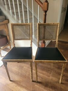 Pair Vintage Stakmore Faux Bamboo Folding Cane Chairs Mid Century Free shipping!