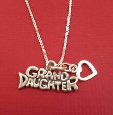 Sterling Silver Granddaugher Necklace Solid 925 Pendant and Chain Grand Daughter