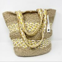 Sondra Roberts Squared Summer Straw Raffia Striped Tote Beach Bag