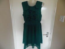 Ladies Green tie waist lined sleeveless top with ruff detail size 16