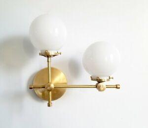 Wall Sconce Light Mid Century Double Light Modern Brass Industrial Globe Fixture