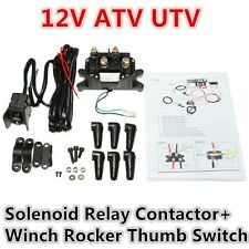 12V Black Solenoid Relay Contactor&Winch Rocker Thumb Switch Combo For ATV UTV