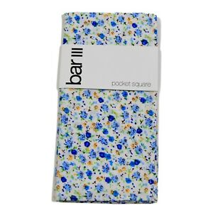 Bar III Men's Pocket Square Blue White Bourke Floral Print Accessory NWT