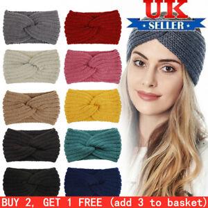 Women Crochet Cross Knot Hair Band Headband Autumn Winter Knitted Head Wrap Wool