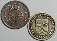 1936 1945 Mozambique 50 Centavos Lot Two Portugal Colony Coins (19091409R)
