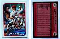 Mike Maddux Signed 1989 Topps #39 Card Philadelphia Phillies Auto Autograph