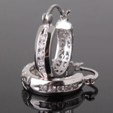 925 Silver White Topaz Women Jewelry Fashion Ear Stud Hoop Earrings Trendy
