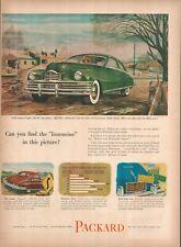 1949 Packard Super Eight Custom 160 HP Transverse Shocks Vintage Print Ad B49