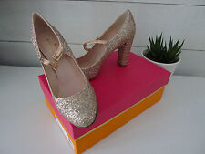 KATE SPADE Rose Gold GLITTER ANGELIQUE HEELS 6 Shoes PUMPS Mary Jane METALLIC !