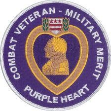Purple Heart Embroidered Patch - Combat Veteran - Military Merit - US Army- USMC