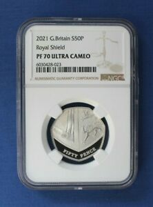 """2021 Silver Proof 50p coin """"Shield Design"""" NGC Graded PF70 Ultra Cameo"""