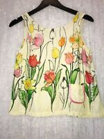 SMALL Sleeveless Top Floral Tulip Yellow Pink Red Button Up Back & Pocket CUTE!
