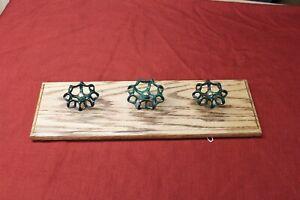 Vintage Wall Hanger Water Valve Handles Towel Coat Utensil Rack Oak Wood
