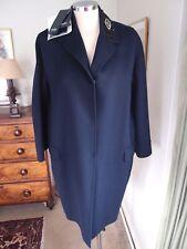 Max Mara Virgin Wool/Angora Navy Blue Coat Crystal Embellished SZ XL/UK 16-18