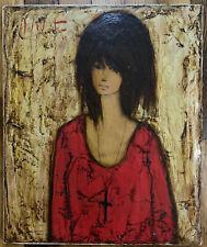 Tableau Buffet Portrait Jeune Fille à la Croix Peinture signature à découvrir