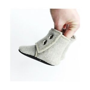 """Baby Wool Boots Sz 3/4  4.5"""" Inches 100% Wool Handmade Baby Boots Gray Upcycled"""