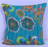 40.6cmx40.6cm Indien Kantha Main Cousu Jeté Dérapage Housse Coussin Motif Floral