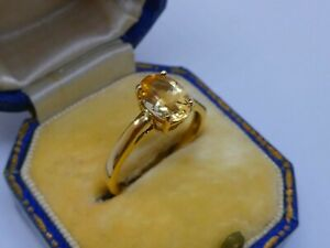 A Very Pretty Ladies 9ct Yellow Gold Imperial Topaz Solitaire Ring Size L, 2.1g