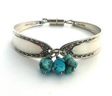 "Bridal Wreath 1915 spoon bracelet flatware jewelry turquoise Howlite 6.75"" small"