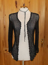 black crochet long sleeve cardigan jacket top S-M 8-10-12 Steampunk Victoriana
