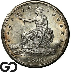 1876-S Trade Dollar, Rev. Chopmarks, Lustrous BU++ Silver $ ** Free Shipping!