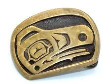 Vtg PACIFIC NORTHWEST Modernist HAIDIA FIGURE Solid Brass Belt Buck