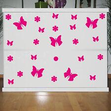 25 Aufkleber pink Schmetterlinge & Blumen Kinder Zimmer Schrank Komode Dekofolie