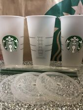 Starbucks 3 X Reusable Cold Cup Frosted Ice Venti 24oz Lid Straw New!