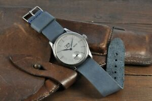 Leather Watch Strap Genuine Leather Watch Band Blue 12mm - 26mm