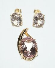 3Pc Modernist 14k Yellow Gold & Facetted Morganite Pendant & Earrings (SaR)#294