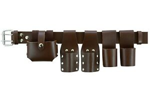 New Scaffold Brown Leather Tool belt Double Spanner Frog 2 Round Hammer Level