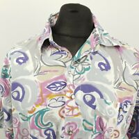 RETRO Mens Vintage Shirt Crazy Pattern 80s 90s 41/42 LARGE RELAXED Abstract