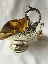 VINTAGE LARGE SILVER PLATE /GOLD PLATE INSIDE COAL SCUTTLE WITH SPOON