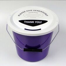 2 Charity Fundraising Money Collection Buckets with Lids, Labels and Tie PURPLE