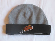 NEW BOY'S GRAY/BLACK FLEECE WINTER HAT/BEANIE SIZE 6-12 YEARS FOOTBALL LOGO
