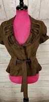 Alberto Makali Short Sleeve Brown Jacket Tie Waist Ruffled Zipper Accent Sz 8