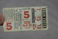 Vintage S. F. Giants Baseball Club, Raincheck, Game No. 5, April 22, 1967