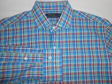 Ralph Lauren Polo Mens Designer Light Blue Colorful Plaid Casual Shirt M TALL