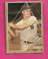 1962 TOPPS # 1 YANKEES ROGER MARIS  GOOD  CARD (INV# C3142)