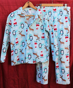 GYMBOREE large (10-12) light blue, penguin & reindeer PAJAMA set Lounge Wear