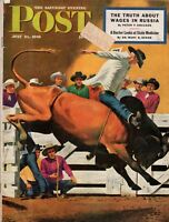 1945 Saturday Evening Post July 21-Antwerp Rescue; Wake Island; Rodeo Bull Rider