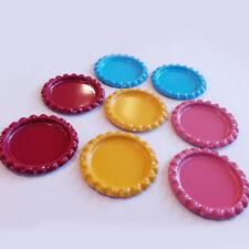 10pcs Flat Bottle Caps Multicolor Flattened Lineless Chrome Random Color Crafts