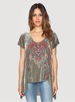 💕JWLA Johnny Was TISHA AZTEC Velvet Embroidered V Veck Tunic Blouse XL $278 💕