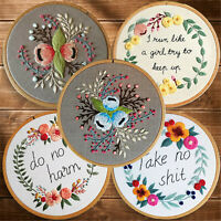 Needlework Art Handmade Fun Wording Hoop DIY Embroidery Flowers Cross Stitch Kit